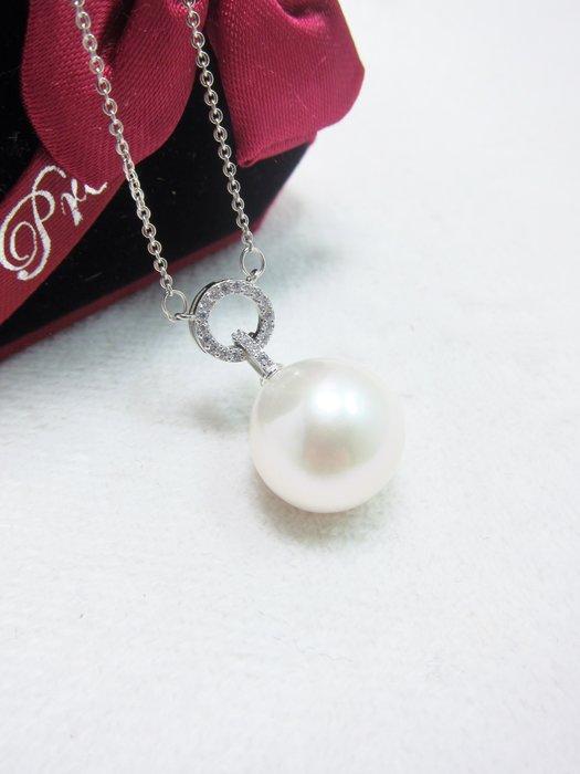 13.8mm白珍珠墜鍊【元圓珠寶】