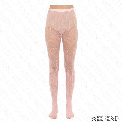 【WEEKEND】 GUCCI Logo 透膚 褲襪 粉紅色