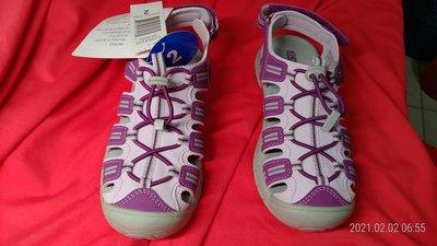 COSTCO吊牌未拆 女童運動涼鞋,紫/灰色,(21號)