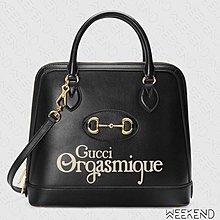 【WEEKEND】 GUCCI 1955 Horsebit Medium GG 中款 手提包 肩背包 黑色 620850