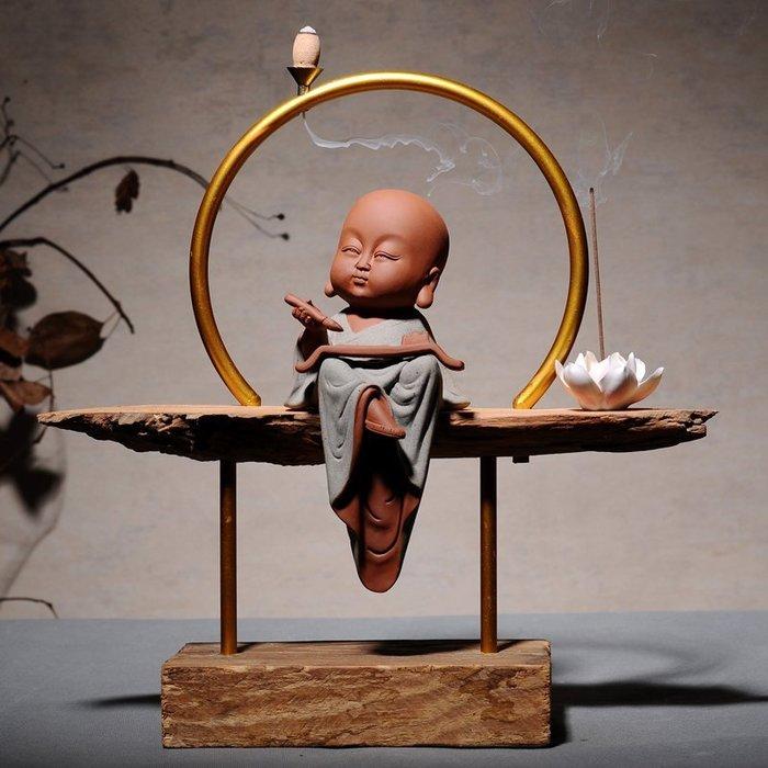 茶道香道創意家居書房風化木頭擺件禪意小沙彌陶瓷香爐  送倒流香