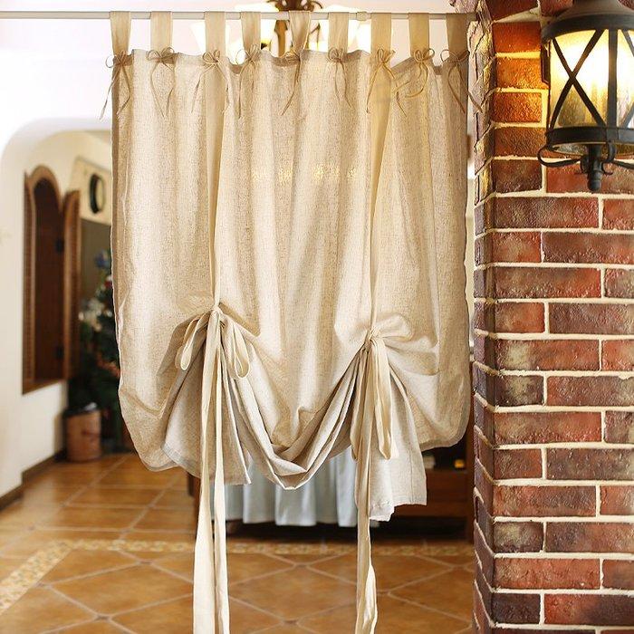 亞麻棉麻系帶簾 提拉簾 鄉村美式窗簾 羅馬簾 扣波簾 門簾 櫥窗裝飾簾