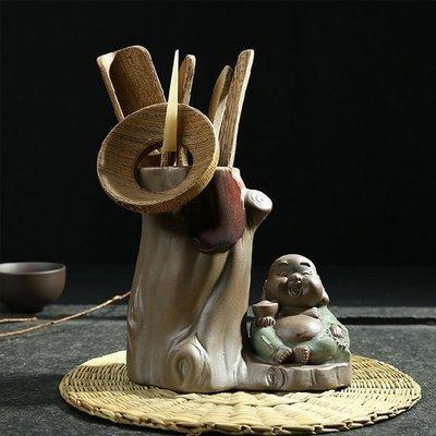 新款功夫茶具汝窯陶瓷古陶黑檀雞翅木茶道六君子套裝古樹茶道小沙彌如意佛