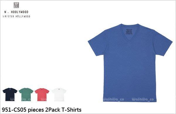 WaShiDa PLUS+【 N.HOLLYWOOD 棉質 951-CS05 彩色 素面 V領 短袖 T恤】