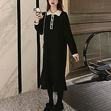 Amybetty新品正韓女裝秋冬新款大碼女裝胖妹妹洋氣針織設計感小眾內搭法式毛衣連身裙女