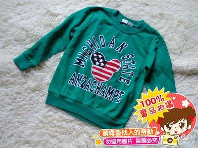 ❤厤庭童裝舖❤最後一件【E451】米奇字母國旗綠色上衣/T恤(7號)