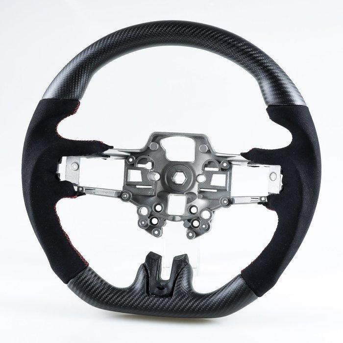 消光黑 碳纖維+麂皮 方向盤 福特野馬Ford Mustang 2019-2020年適用 /紅線 鋁鎂合金