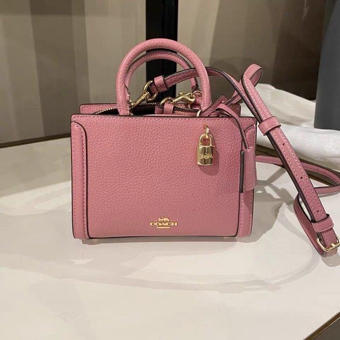 小皮美國代購 COACH 3015 新款女士Zoe迷你手提包 全素色方形小包包 單肩斜揹包 附購證