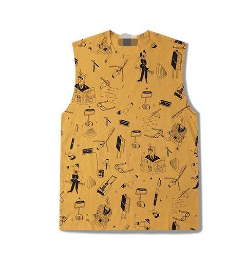 FINDSENSE H1夏季 新款 日本 個性  純棉背心  時尚  寬鬆 潮牌 情侶背心 打底 無袖T恤 潮男 女上衣