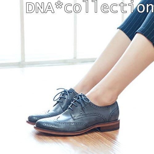 DNA*collection]全新~裡外全真皮~ 高級進口羊皮擦色 歐洲雕花低跟牛津鞋 灰色23.5 一元起標 1元起標