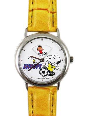 【卡漫迷】史奴比 手錶 旋轉秒針 ㊣版 皮帶 黃色 足球 史努比 男錶 女錶 兒童錶 卡通錶 Snoopy 6折特價