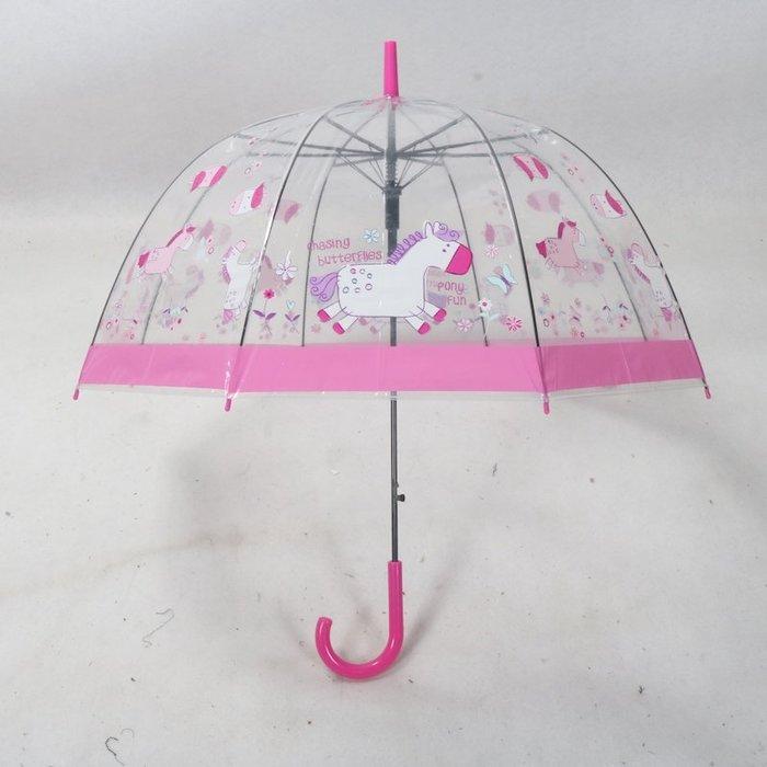 奇奇店-創意快樂小馬兒透明拱形鳥籠款女士清新長柄自動雨傘#加固 #小清新 #晴雨兩用