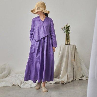 秋裝設計款V領斜襟氣質款亞麻長袖連衣裙(老銀屋)