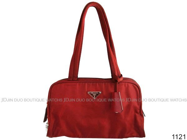 金鐸精品~1121 PRADA 紅色尼龍帆布 鎖頭包 手提肩背包+鑰匙包