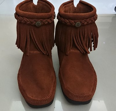 莫卡辛 棕色 麂皮拉鍊流蘇靴