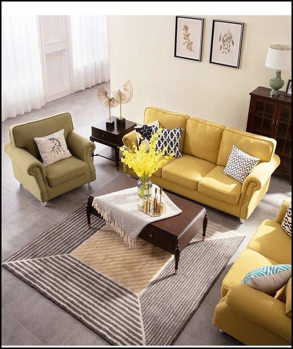 美式鄉村風 黃色/綠色鉚釘兩人座沙發 簡約客廳椅附抱枕休閒椅營業場所大廳椅另有單人沙發三人布沙發主人椅貴妃椅【歐舍傢居】