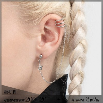 韓風專櫃飾品BLACKHEAD黑頭/設計師潮牌 創意個性金屬球五星裝飾鈦鋼耳釘情侶