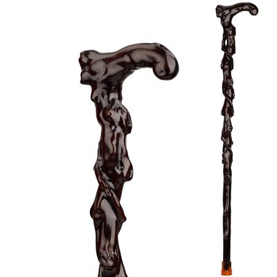 老人用品 拐杖 老年實木雕刻遍福根雕拐杖 鐵梨木質紅木老人用品手杖 拐棍助行器