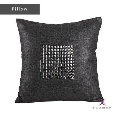 【夏法羅 傢飾】黑銀色亞麻手工縫玻璃鑽方塊抱枕 靠墊 腰枕 XP-04