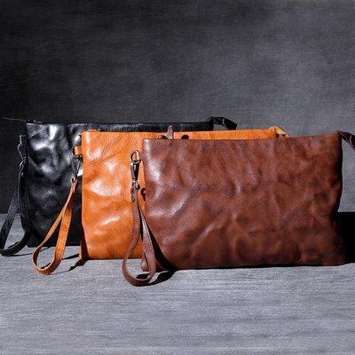 手拿包真皮錢包-大容量休閒植鞣牛皮男女包包3色73vp37[獨家進口][米蘭精品]