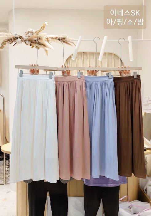 *~fuyumi boutique~*100%正韓 冬裝新款 漂亮歐膩家的仿絲質飄逸長裙 粉/奶白/藍/咖