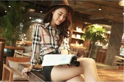 Color Fashion早秋季韓版格子襯衫女裝上衣修身長袖上衣外套女裝韓系暢銷熱賣 G825112