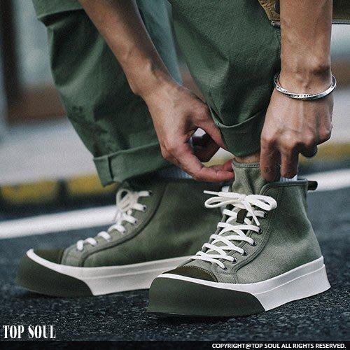 休閒鞋 增高鞋 高筒鞋 鞋頭撞色設計帆布鞋 4色.TOP SOUL【SAS0161】
