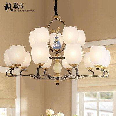 【德興生活館】新中式全銅吊燈中國風客廳餐廳臥室燈美式復式大氣歐式別墅燈飾 特價促銷