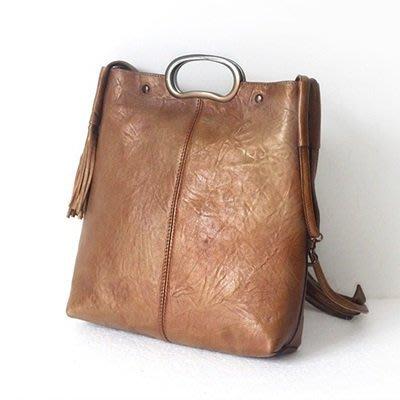 真皮肩背包 手提包-豎款擦色流蘇裝飾女包包2色73nf32[獨家進口][巴黎精品]
