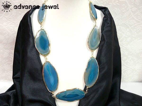 【寶峻水晶】幸福寶石紋路抽象奇麗瑪瑙片項鍊/頸鍊,清透藍綠色,搭長版上衣MN-65