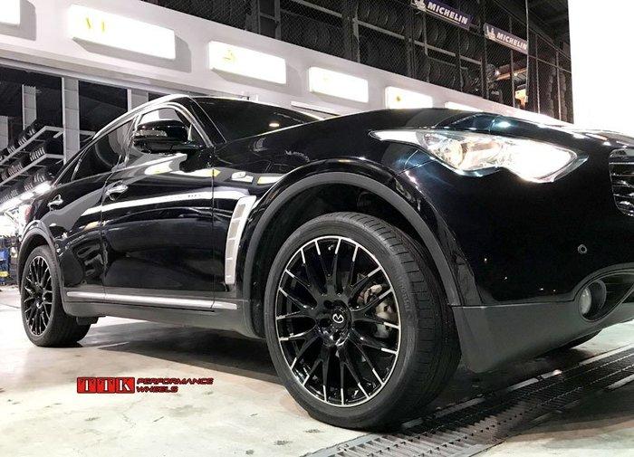 【小茵輪胎舘】新款 INFINITI 休旅車專用 21吋 5孔114 9.5J ET50 亮黑車面搭配輪胎套餐59999
