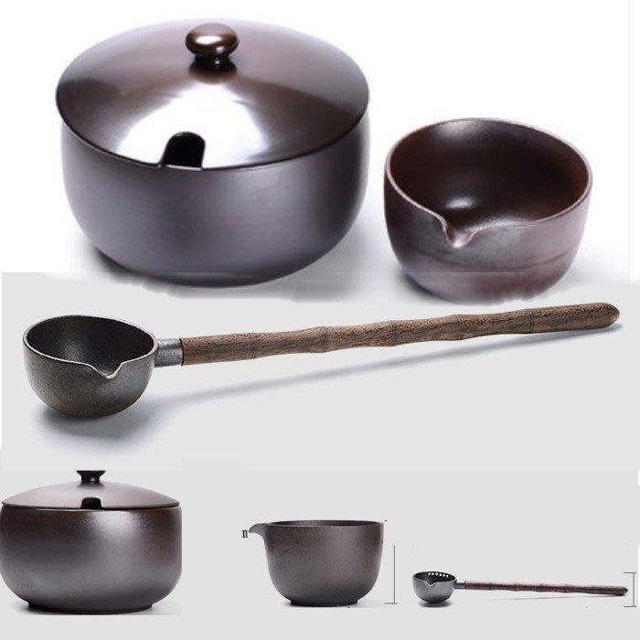 5Cgo【茗道】含稅539371671028 煮茶器柴燒陶瓷煮茶碗泡茶碗帶蓋碗分茶器茶勺功夫茶具普洱茶溫茶器含過濾茶勺