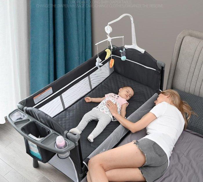 現貨! 歐式折疊嬰兒床拼接大床bb多功能便攜式新生兒寶寶床邊床搖籃床