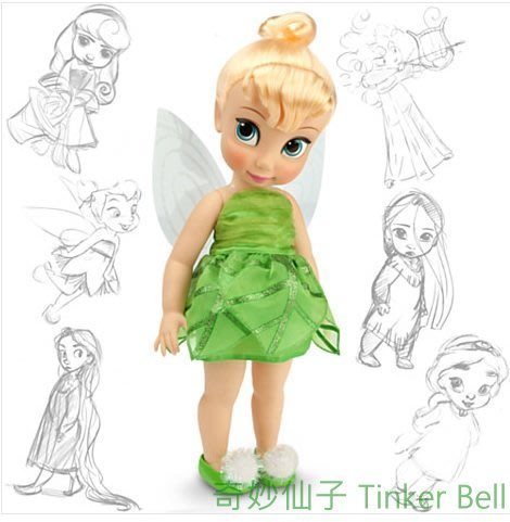 現貨【迪士尼 Disney】全新美國正品 手繪Q版娃娃 奇妙仙子 Tinker Bell【高約40公分】盒損