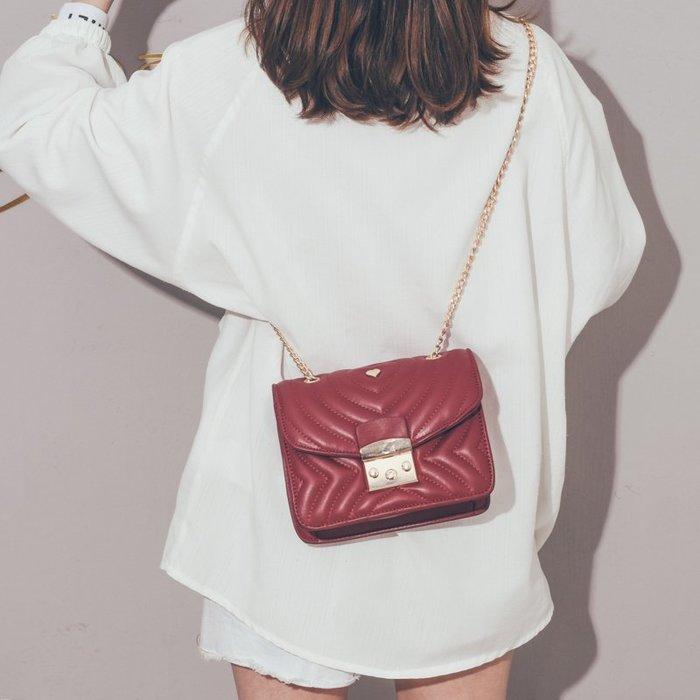 上新小包包女2019新款高級感軟皮簡約小方包韓版百搭鏈條斜挎包女