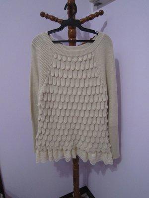 chilly 11號 超特別毛衣 下擺拼接蕾絲