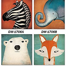 北歐可愛動物斑馬大象北極熊狐狸裝飾畫畫心畫布微噴噴繪打印畫