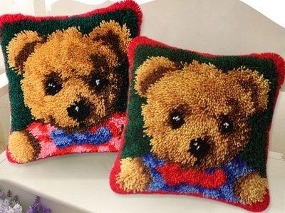2~十字繡~絨繡材料包——一 毛線3d十字繡抱枕地毯繡靠枕段段繡情侶一對成對ZD923小熊