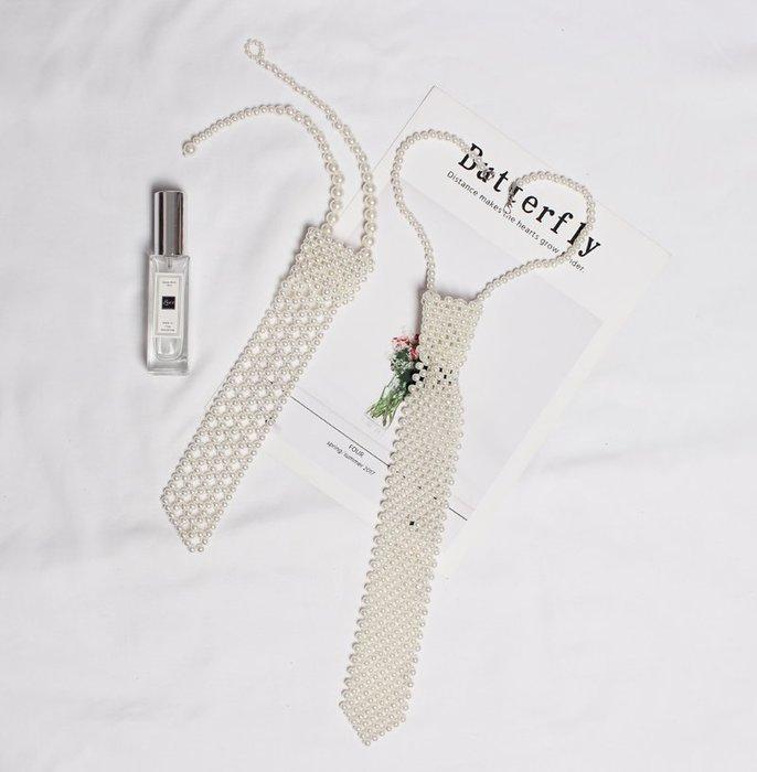 原創自制手工編織串珠平頭型鏤空珍珠領帶女百搭襯衫假衣領結裝飾時尚手環 夜店 朋克手環手鏈 仙女搭配
