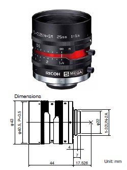 Ricoh FL-CC2514-5M 5MP 2/3 25mm f1.4