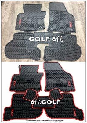 福斯VW GOLF 六代 MK6 (黑邊/紅邊/GOLF字體/GTI字體) 橡膠腳踏墊 汽車橡膠腳踏墊 歡迎洽詢