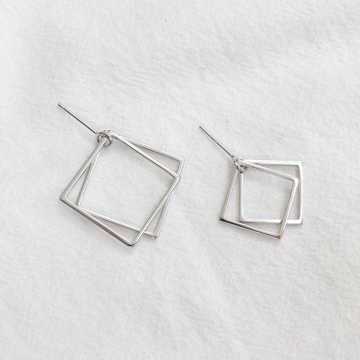 《現貨》925純銀 個性時尚幾何方形雙環耳環 極簡光面素銀耳針 生日情人節 聖誕節 Baonizi 寶妮子