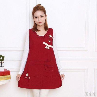 居家家 防水圍裙冬季韓版時尚成人圍衣廚房清潔咖啡廳餐廳服務員新款