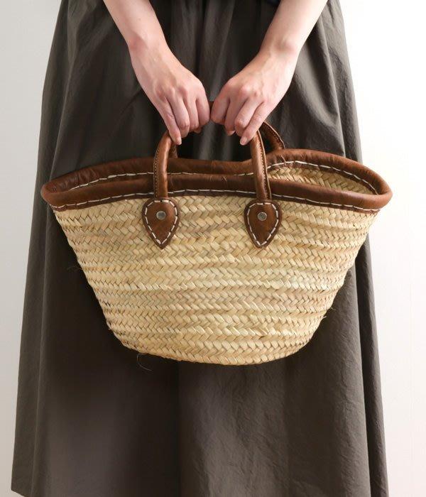 發現花園日本選物~日本 松野屋  編織提籃 籐籃~皮革飾邊籐包