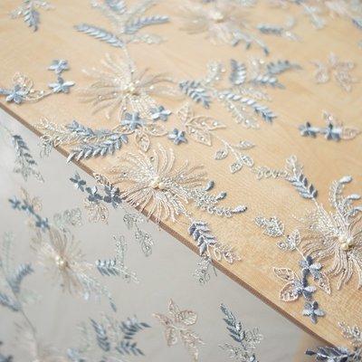 橙子的店 W10釘珍珠軟網紗金線色織羽毛刺繡蕾絲 服裝定制面料布料 藍色系