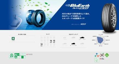 三重近國道 ~佳林輪胎~ 橫濱輪胎 AE01F AE-01F 205/55/16 非 AE50 ES32 AE01