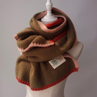 日本秋冬新款 超美圍巾 針織毛線顏色拼接 日本圍脖 加厚保暖圍巾 情侶圍巾 日本圍巾