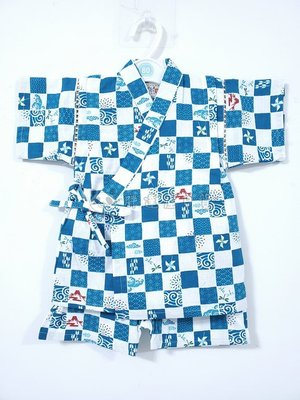 ✪胖達屋日貨✪褲款 80cm 水藍方格  富士山 日本 男 寶寶 兒童 和服 浴衣 甚平 抓周 收涎 攝影