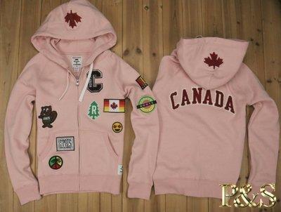 轉三號五樓(全新)正品 Roots 加拿大 國慶款 貼布連帽外套 女款 粉色 (加拿大製)S號