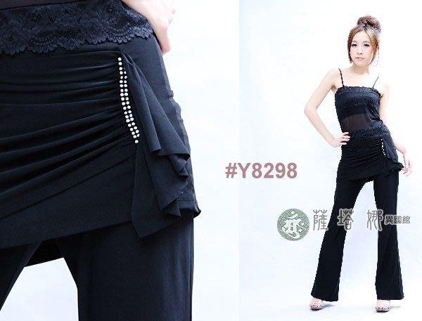 @~薩瓦拉: M~XL_Y8298_黑色寶石前垂片側抓皺_有裙不可拆蟑螂褲